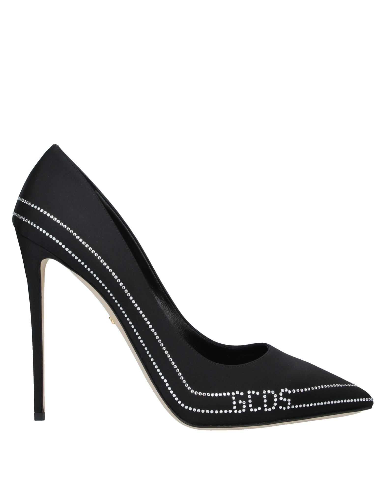 GCDS Pumps. satin, logo, rhinestones, solid color, narrow toeline, spike heel, covered heel, leather lining, leather sole, contains non-textile parts of animal origin. Textile fibers