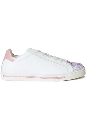 RENE' CAOVILLA Xtra metallic-trimmed crystal-embellished leather sneakers