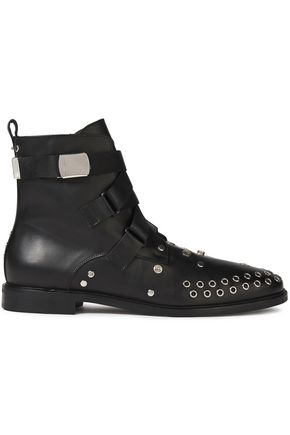 McQ Alexander McQueen Synapse embellished leather ankle boots