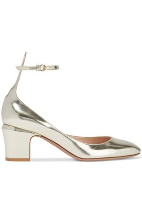 VALENTINO GARAVANI حذاء بمب من الجلد لون ميتاليك