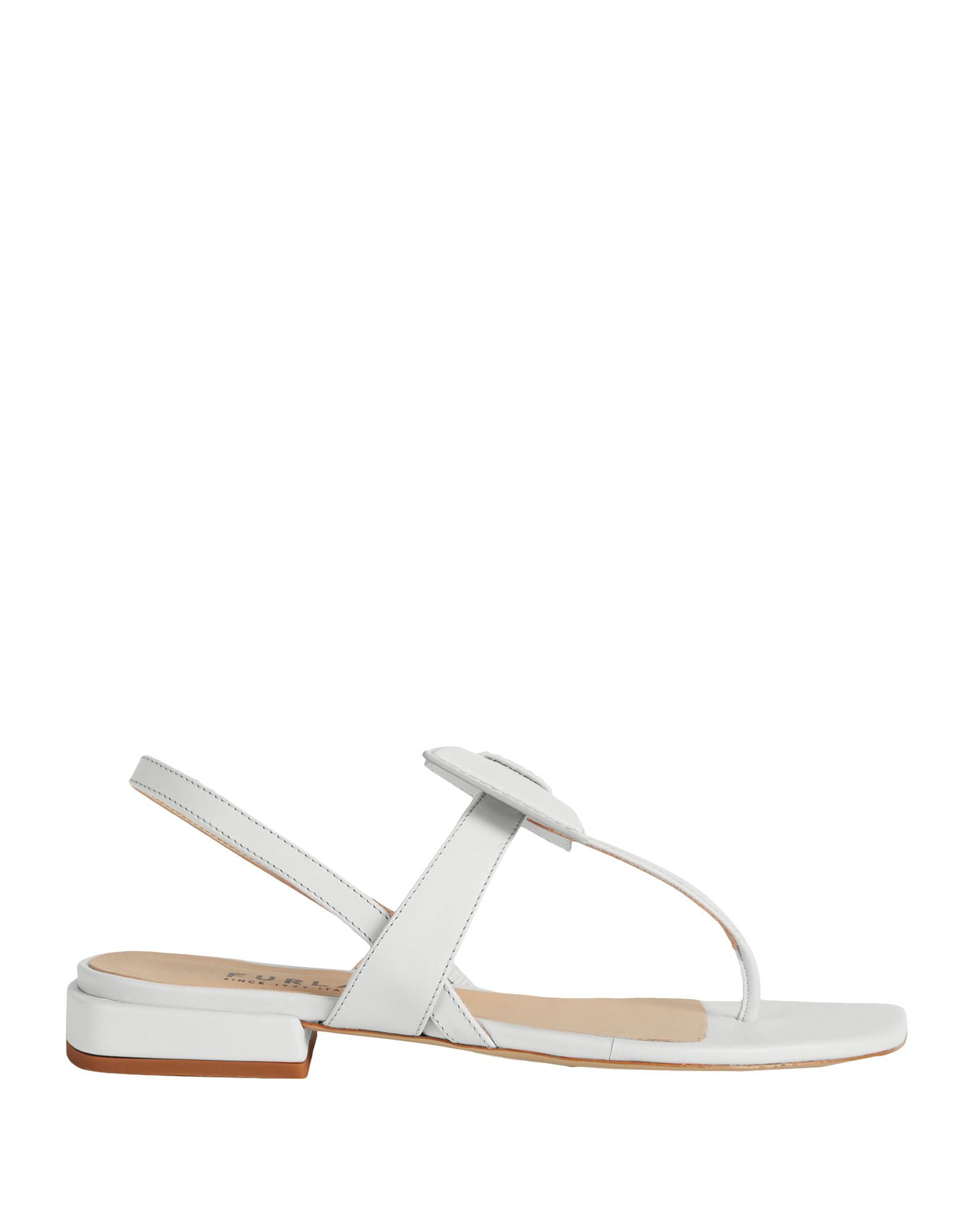 FURLA Toe strap sandals. bow-detailed, basic solid color, elasticized gores, square toeline, square heel, leather lining, rubber sole, contains non-textile parts of animal origin. 100% Soft Leather