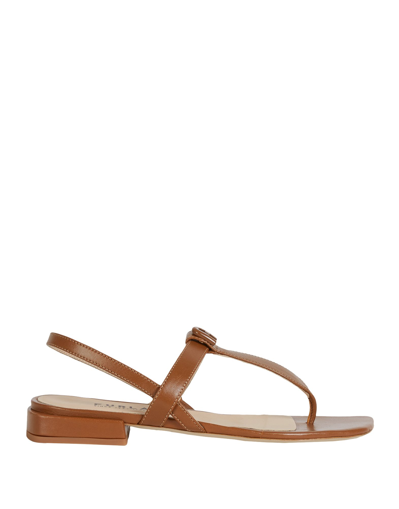 FURLA Toe strap sandals. logo, solid color, elasticized gores, square toeline, square heel, leather lining, rubber sole, contains non-textile parts of animal origin. 100% Soft Leather
