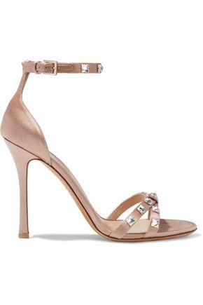 VALENTINO GARAVANI Rockstud Glam crystal-embellished satin sandals