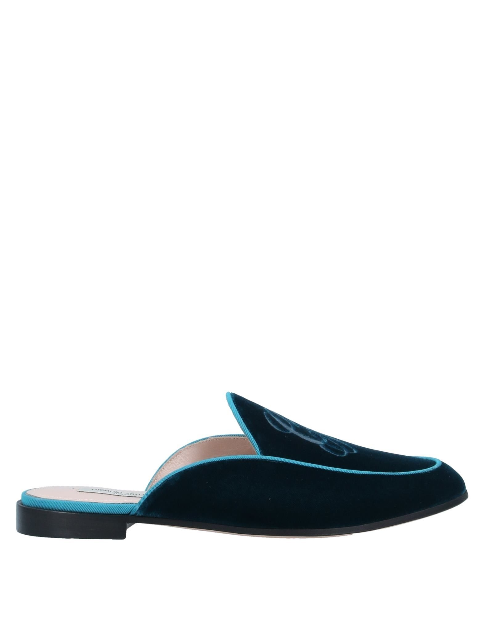 GIORGIO ARMANI Mules. velvet, embroidered detailing, logo, solid color, round toeline, flat, leather lining, leather sole, contains non-textile parts of animal origin. 65% Viscose, 35% Cupro