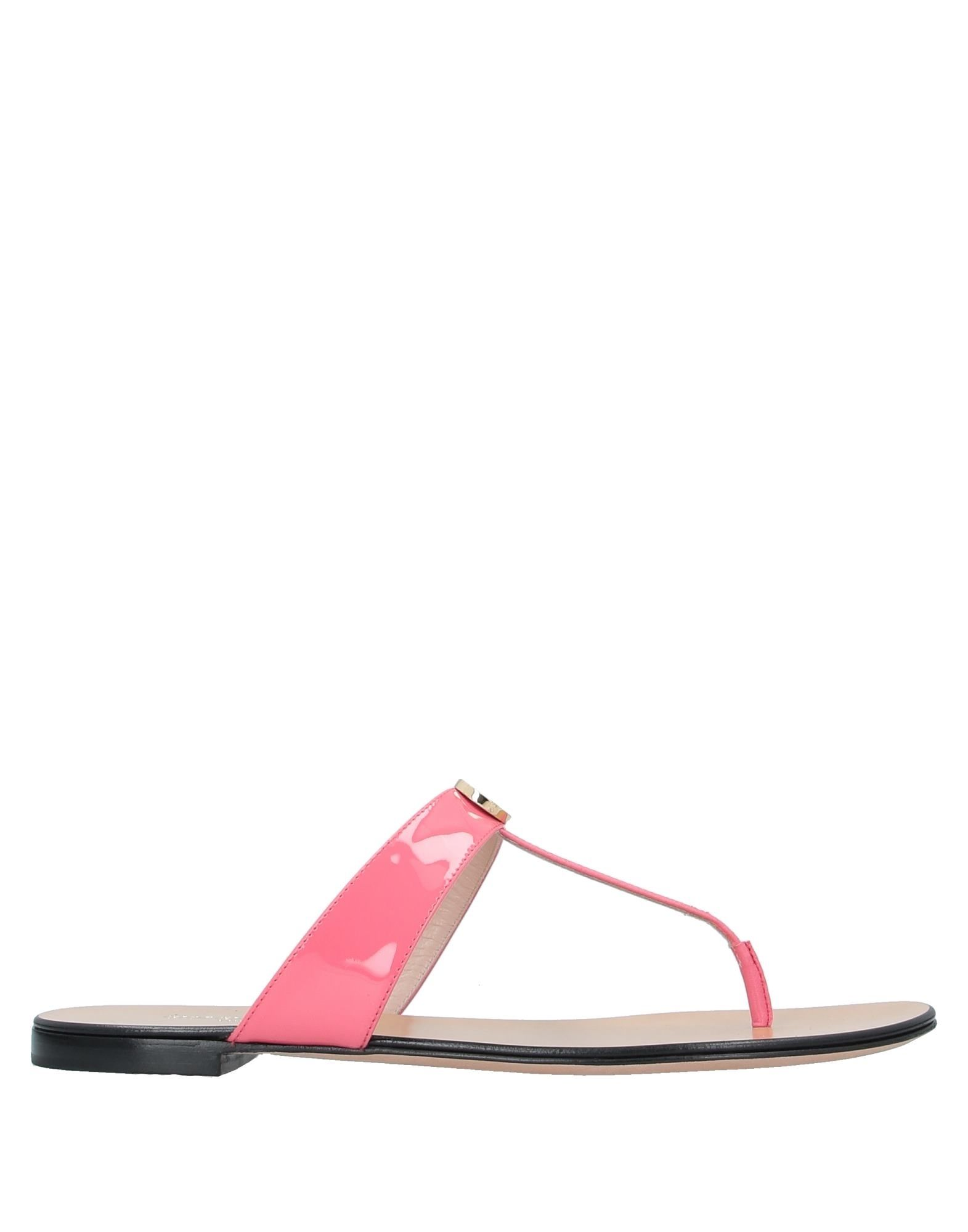GIORGIO ARMANI Toe strap sandals. leather, varnished effect, logo, solid color, round toeline, flat, leather lining, leather sole, contains non-textile parts of animal origin. 100% Calfskin, Lambskin