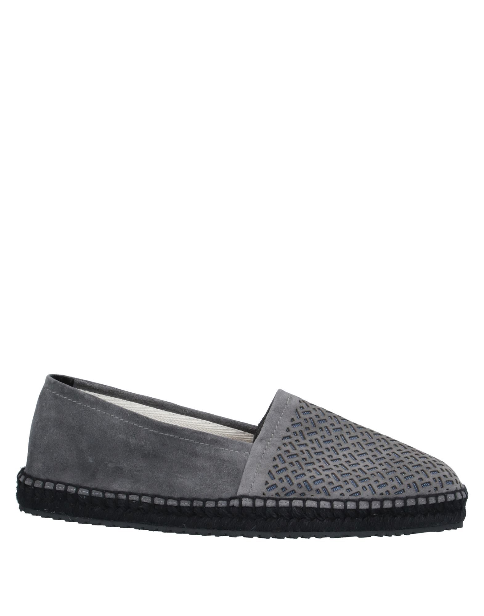 GIORGIO ARMANI Espadrilles. suede effect, no appliqués, two-tone, round toeline, flat, leather lining, rubber cleated sole, contains non-textile parts of animal origin. 100% Calfskin, Linen