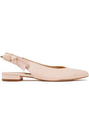FRENCH SOLE Penelope bow-embellished snake-effect leather slingback flats