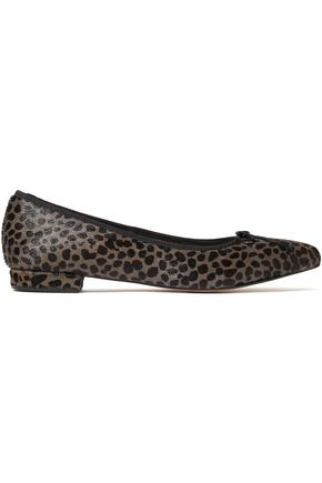 FRENCH SOLE Penelope bow-embellished leopard-print calf hair point-toe flats