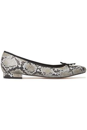 FRENCH SOLE Penelope bow-embellished snake-effect leather point-toe flats
