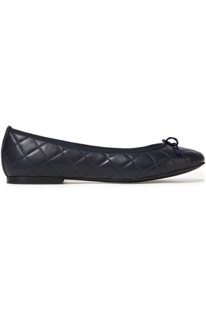FRENCH SOLE Lola bow-embellished quilted leather ballet flats