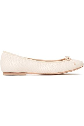 FRENCH SOLE Lola bow-embellished snake-effect leather ballet flats