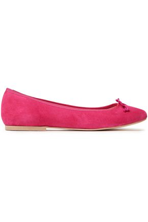 FRENCH SOLE Lola bow-embellished suede flats
