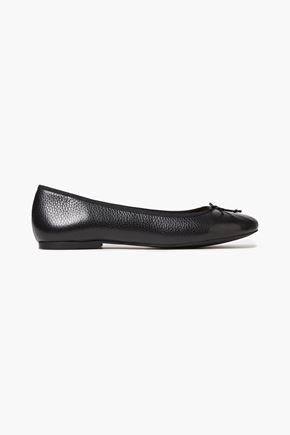 FRENCH SOLE Lola bow-embellished pebbled-leather ballet flats