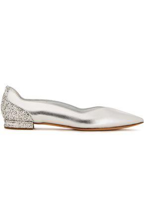 CASADEI Flash glittered metallic leather point-toe flats