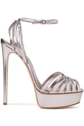 CASADEI Minorca woven metallic leather platform sandals