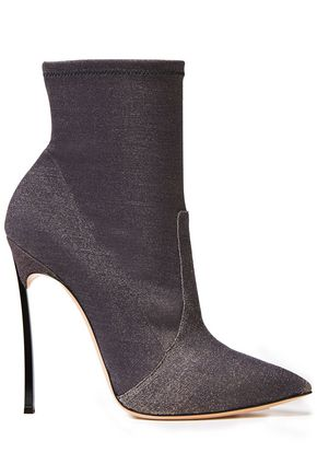 CASADEI Blade Perfecta metallic stretch-knit sock boots
