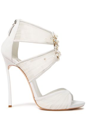 CASADEI Sissi embellished tulle and suede sandals