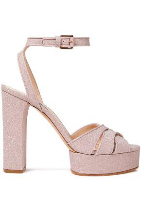 CASADEI Selene glittered leather platform sandals