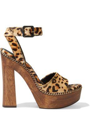 ALICE + OLIVIA Faira chain-trimmed leopard-print calf hair platform sandals