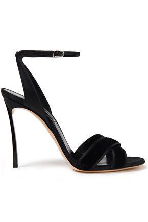 CASADEI Velvet-trimmed silk-satin sandals