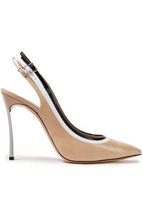CASADEI Blade Elle color-block patent-leather slingback pumps