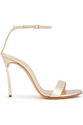 CASADEI Flash crystal-embellished metallic leather sandals