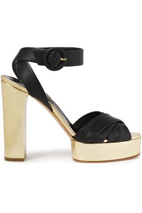 CASADEI Matte and metallic leather platform sandals