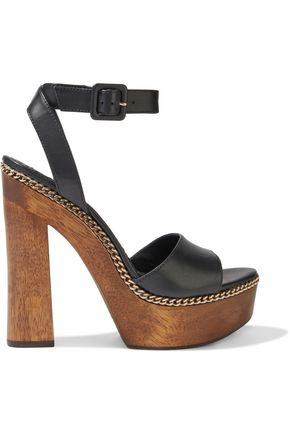 ALICE + OLIVIA Faira chain-trimmed leather platform sandals