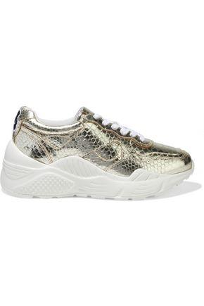 ALICE + OLIVIA Claudine appliquéd metallic snake-effect leather sneakers