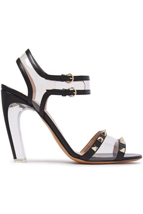 VALENTINO GARAVANI Rockstud leather and PVC sandals