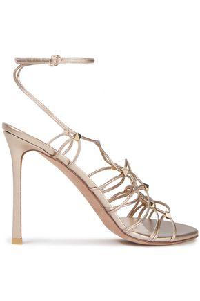 VALENTINO GARAVANI Lace-up studded metallic-leather sandals