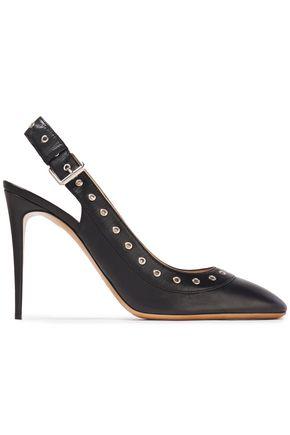 VALENTINO GARAVANI Eyelet-embellished leather slingback pumps