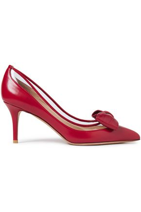 VALENTINO GARAVANI Bow-embellished leather pumps