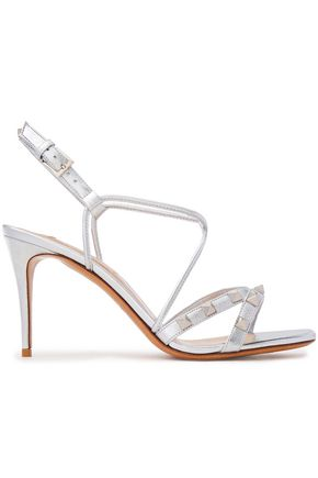 VALENTINO GARAVANI Rockstud metallic leather slingback sandals