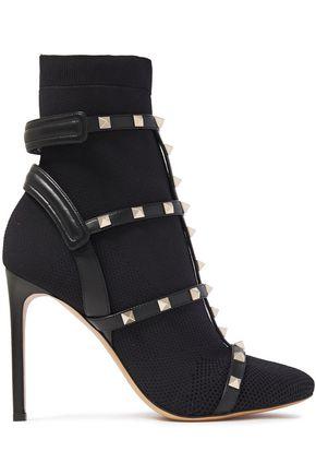 VALENTINO GARAVANI Rockstud leather-trimmed stretch-jersey sock boots