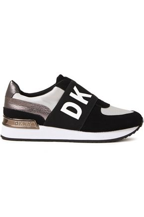 DKNY Suede-trimmed stretch-knit slip-on sneakers