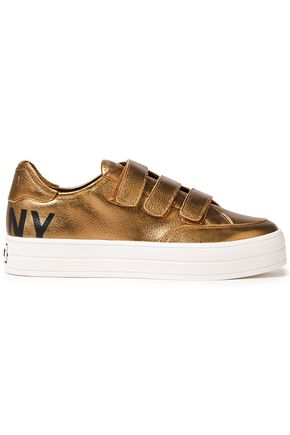 DKNY Printed metallic textured-leather sneakers