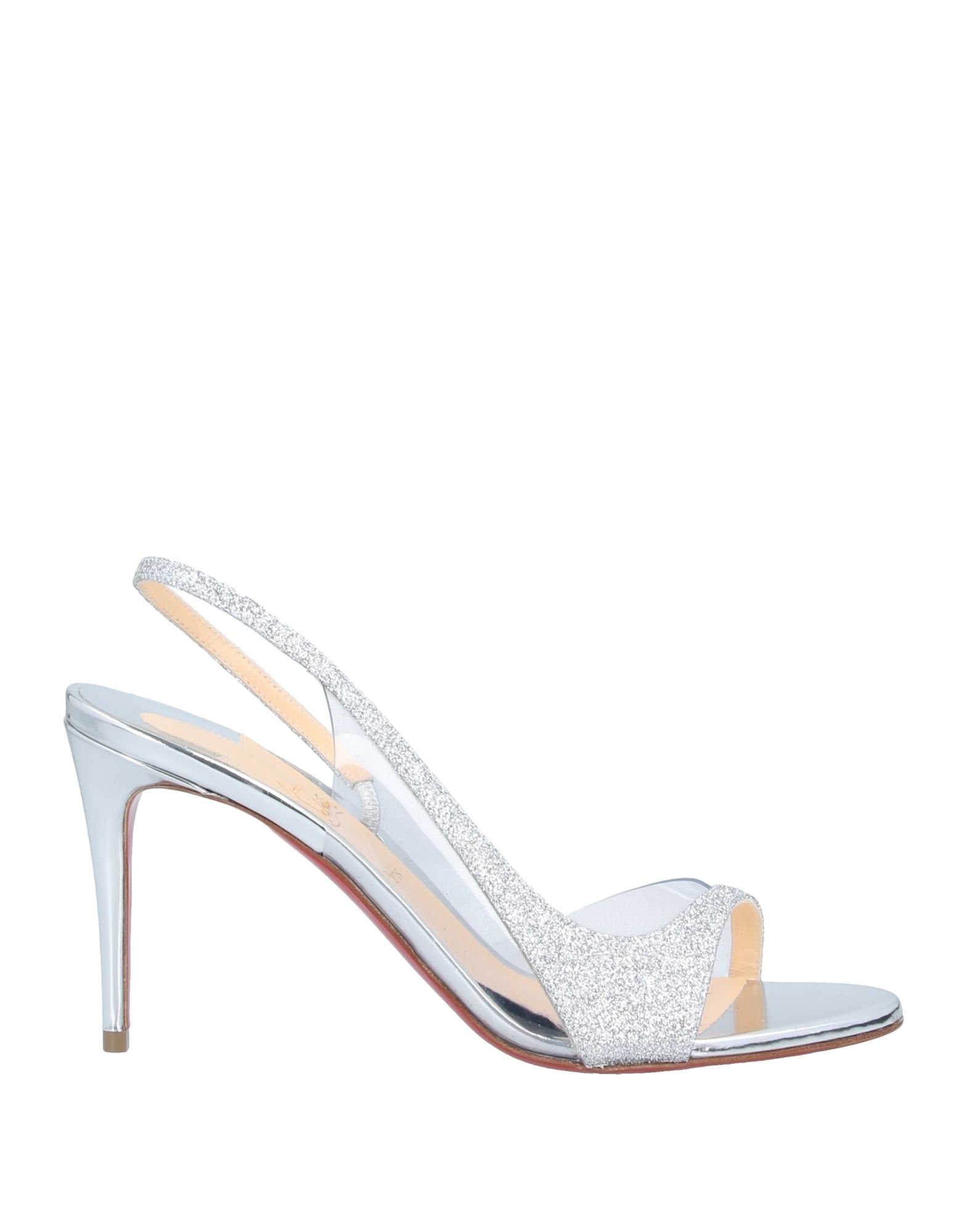 CHRISTIAN LOUBOUTIN Sandals. glitter, transparent effect, solid color, elasticized gores, round toeline, spike heel, covered heel, fully lined, leather sole, contains non-textile parts of animal origin, small sized. PVC - Polyvinyl chloride, Textile fibers