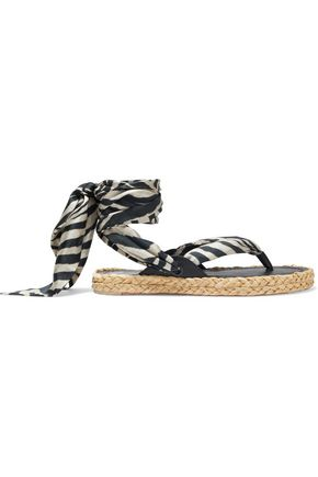 ZIMMERMANN Scarf Tie floral-print satin-twill and leather espadrille sandals