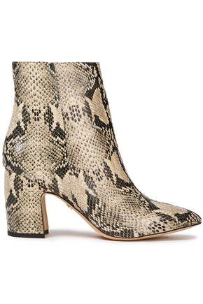 """SAM EDELMAN حذاء بوت إلى الكاحل """"هيلتي"""" من الجلد بنقوش الثعبان"""