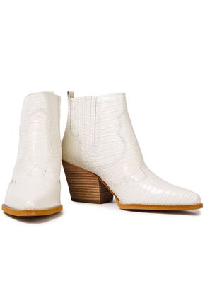 Sam Edelman Winona Croc-effect Leather Ankle Boots In White