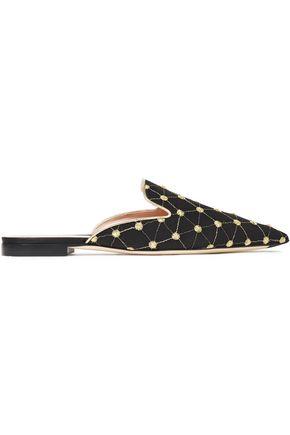 ALBERTA FERRETTI Metallic embroidered woven slippers