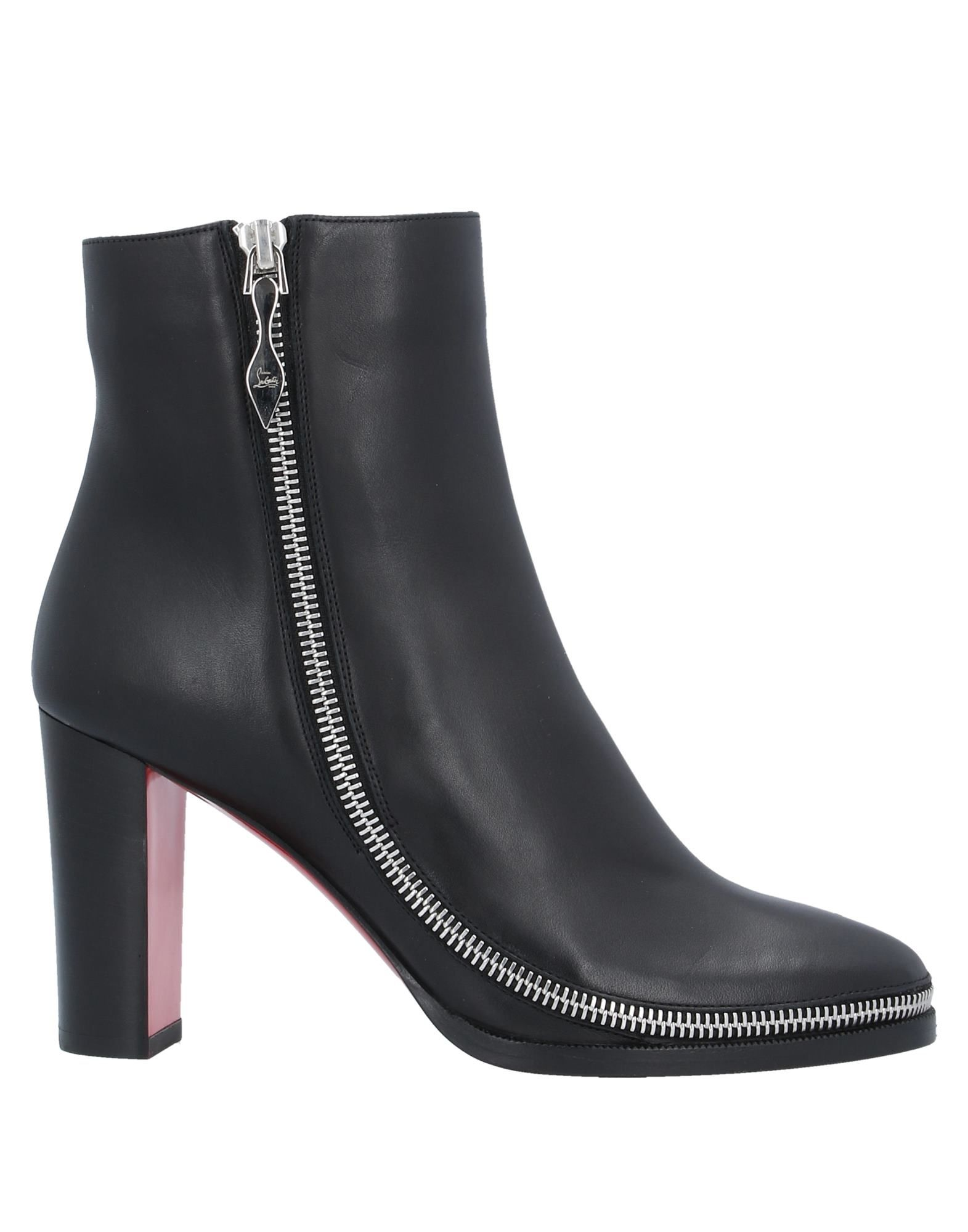 CHRISTIAN LOUBOUTIN Ankle boots. leather, metal applications, solid color, zipper closure, round toeline, geometric heel, leather lining, leather sole, contains non-textile parts of animal origin, small sized. Calfskin