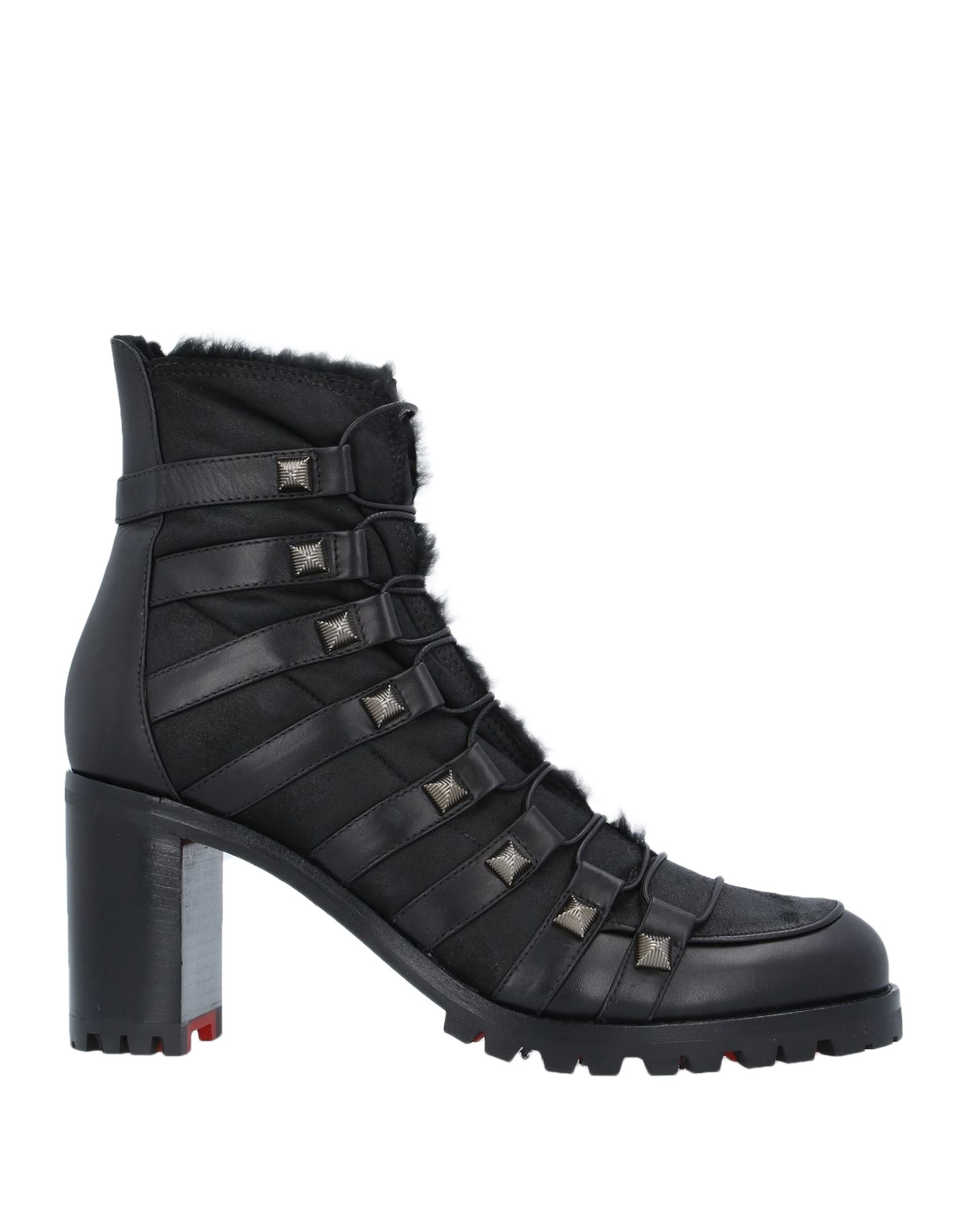 CHRISTIAN LOUBOUTIN Ankle boots. leather, studs, solid color, laces, round toeline, square heel, lined in goat hair, lug sole, contains non-textile parts of animal origin, small sized. Soft Leather