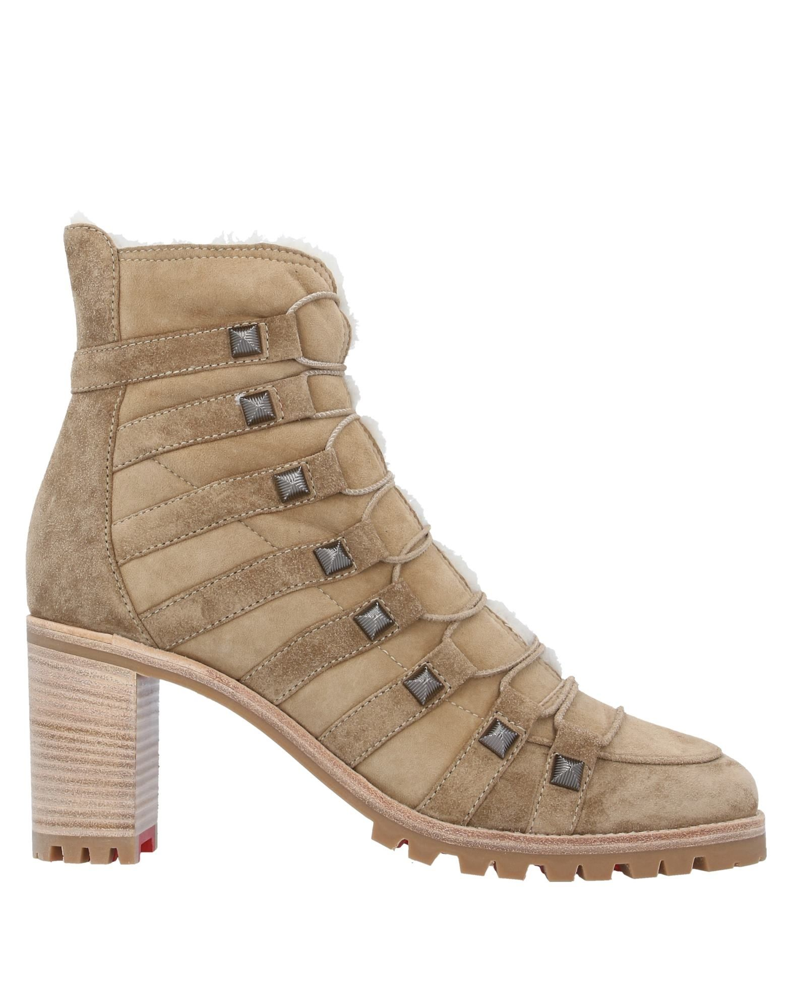 CHRISTIAN LOUBOUTIN Ankle boots. leather, suede effect, studs, solid color, laces, round toeline, square heel, lined in goat hair, rubber cleated sole, contains non-textile parts of animal origin, small sized. Soft Leather