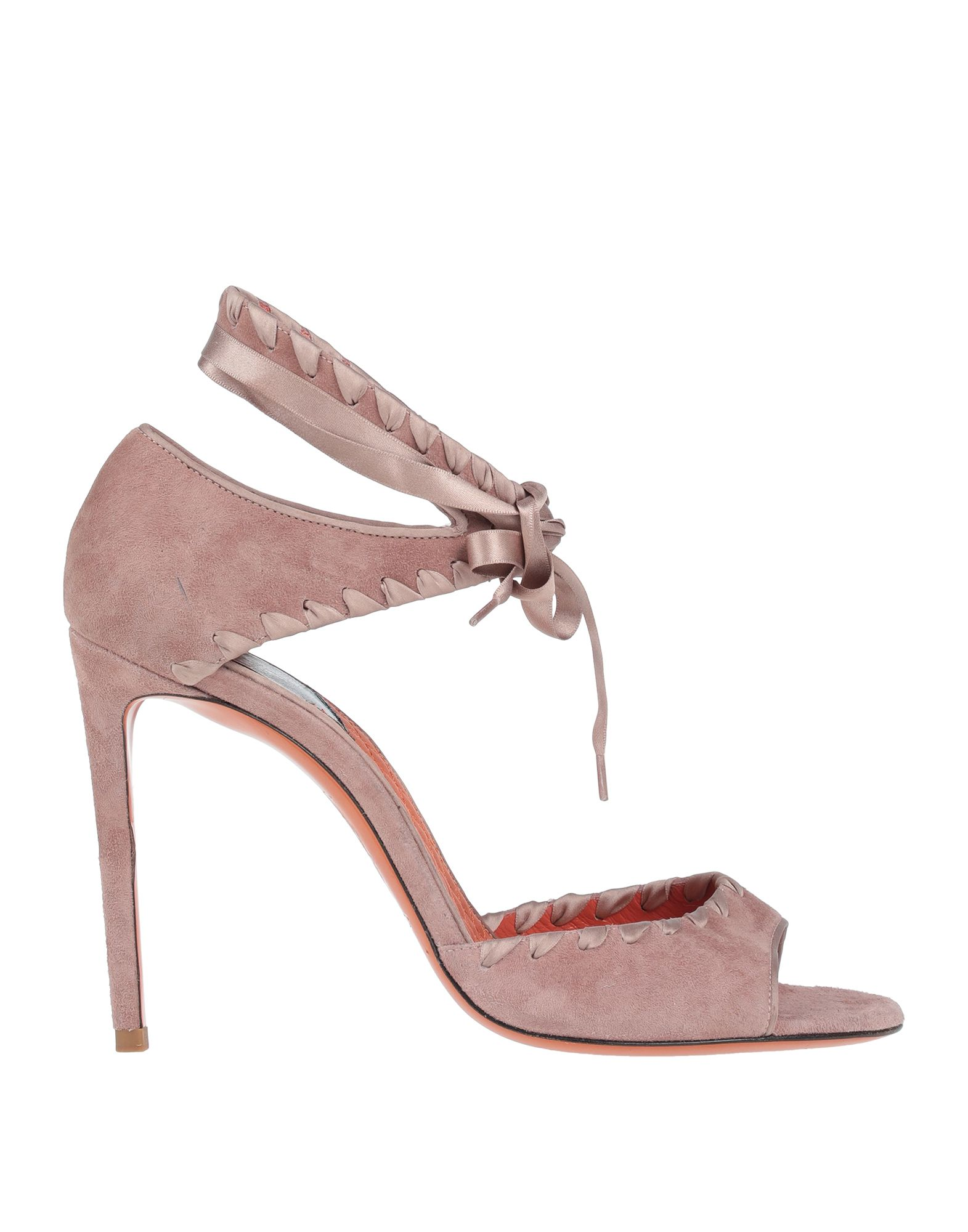 SANTONI Sandals. leather, suede effect, no appliqués, solid color, wrapping straps closure, round toeline, spike heel, leather lining, leather/rubber sole, contains non-textile parts of animal origin, large sized. Soft Leather