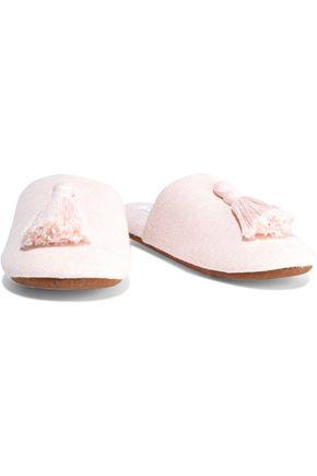 Skin Vara Tasseled Cotton-blend Slippers In Pastel Pink