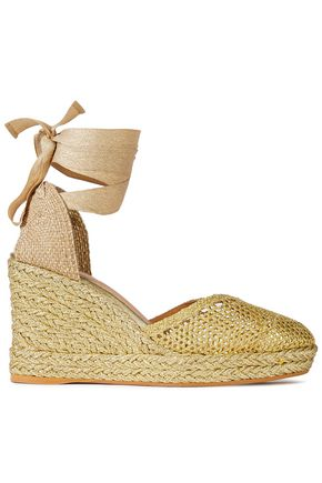CASTAÑER Crocheted lamé and leather wedge espadrilles