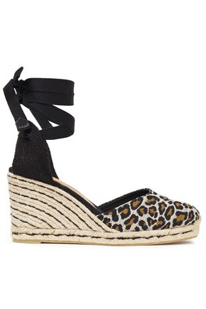 CASTAÑER Cotton-blend leopard-jacquard wedge espadrilles