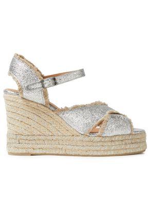 CASTAÑER Metallic coated linen-canvas wedge espadrille sandals